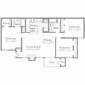 Regency 3 Bedroom 1300 Sq Ft Our Three Bedroom Floor