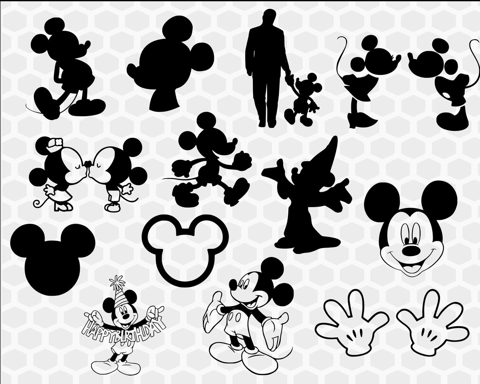 Mickey Mouse SVG Bundle Mickey mouse silhouette svg Disney