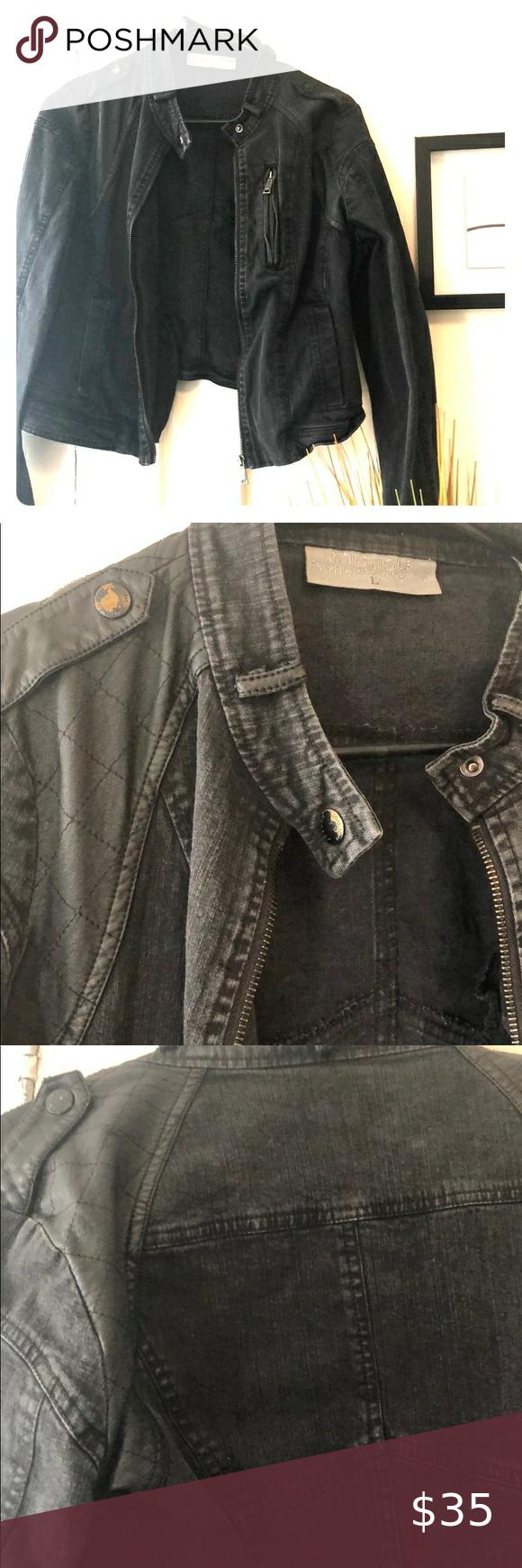 Black denim motorcycle jacket in 2020 Denim motorcycle