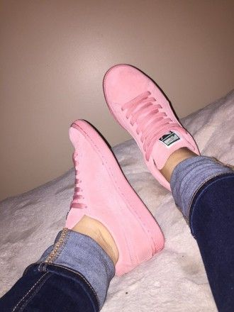 0b0f11bbca6f shoes pink puma girl outfit teenagers rihanna sneakers love perfect jeans fashion  style pastel pastel pink