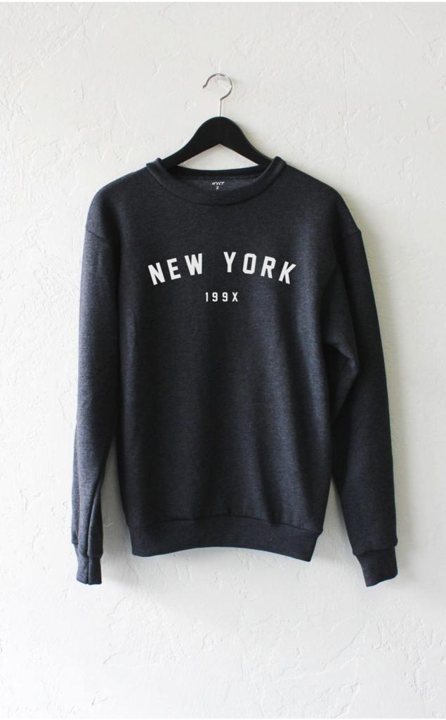 46edbbcc Description Details: 'New York 199x' soft oversized crew neck fleece sweater  by NYCT Clothing. Unisex, oversized/loose fit.