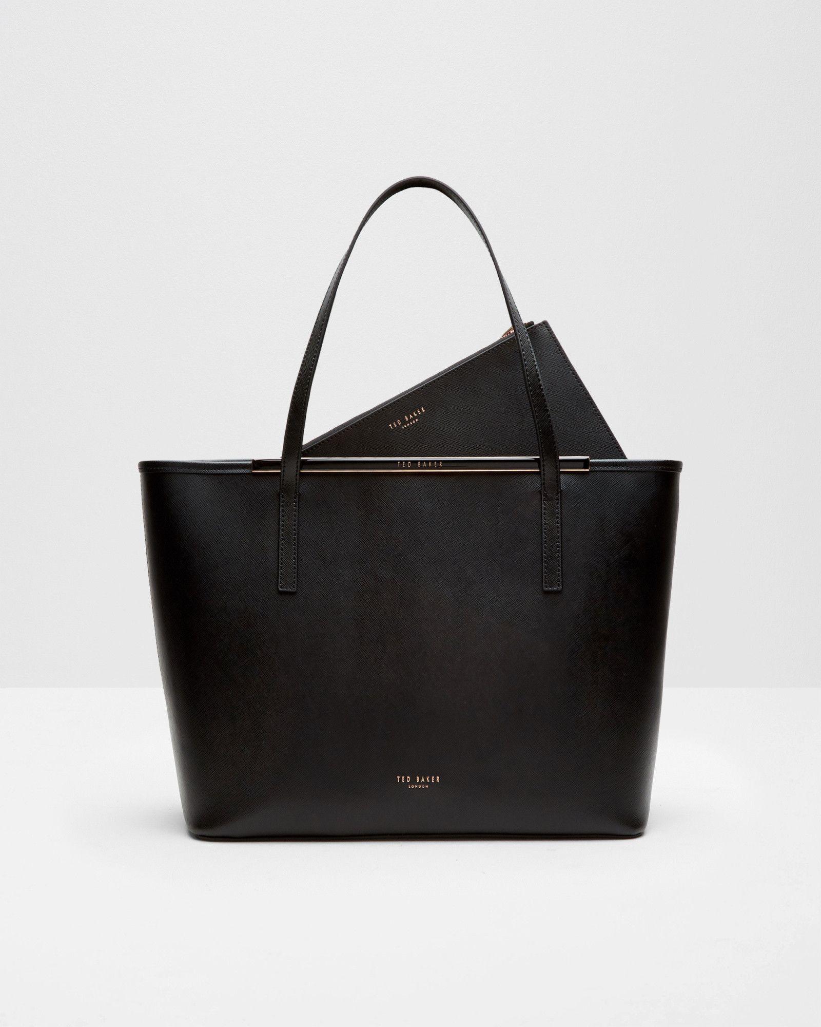 665e85a7f4fc2 Ted Baker Enamel bar crosshatch leather shopper bag Black