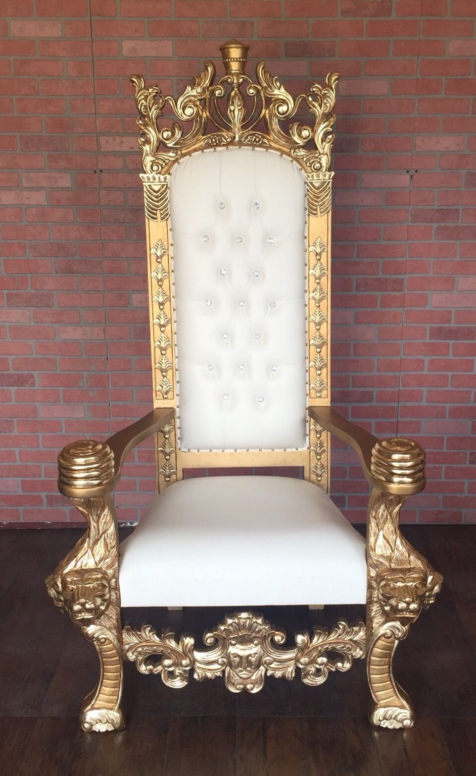 Absolom Roche King Henry Lion Throne Chair Gold White