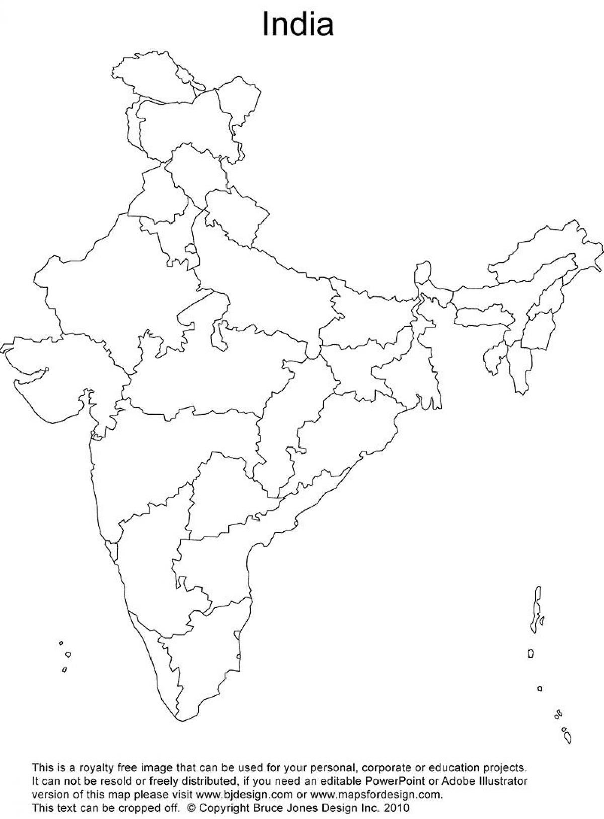 India Outline Map Printable