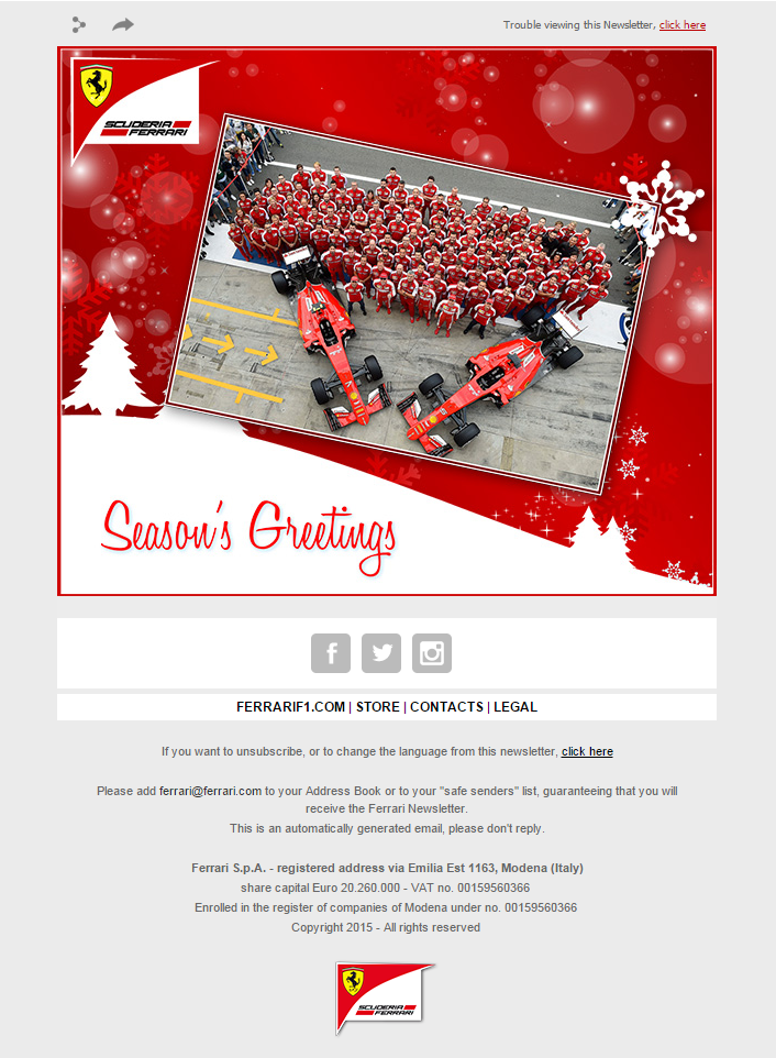 Seasons greetings email from ferrari emailmarketing email seasons greetings email from ferrari emailmarketing email marketing christmas season winter f1 cars sport m4hsunfo