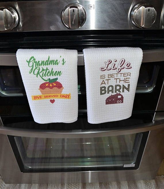 Kitchen Towel With Saying Country Rustic Dish Linen Merry