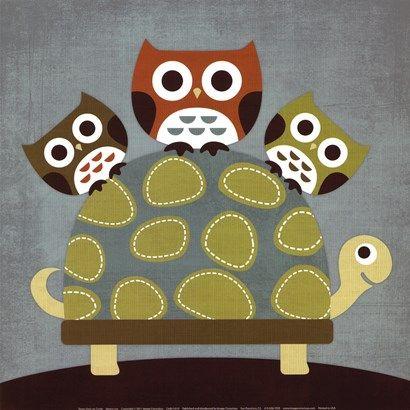 Three Owls on Turtle at FramedArt.com