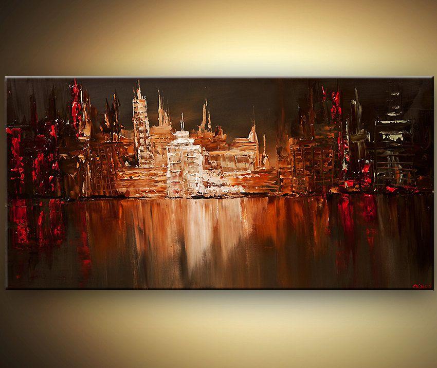 48 original city acrylic painting modern palette knife for Palette knife painting acrylic