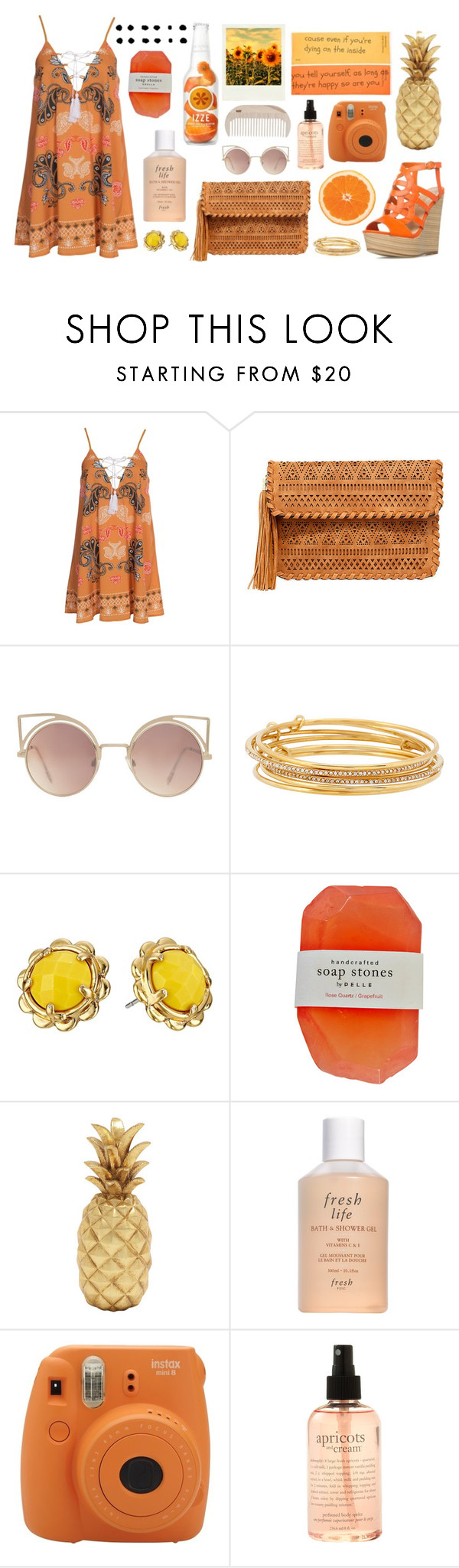 """""""Sin título #19"""" by citlalisanchezd ❤ liked on Polyvore featuring Kiss The Sky, LULUS, MANGO, Kate Spade, Fresh, Polaroid, philosophy and HAY"""