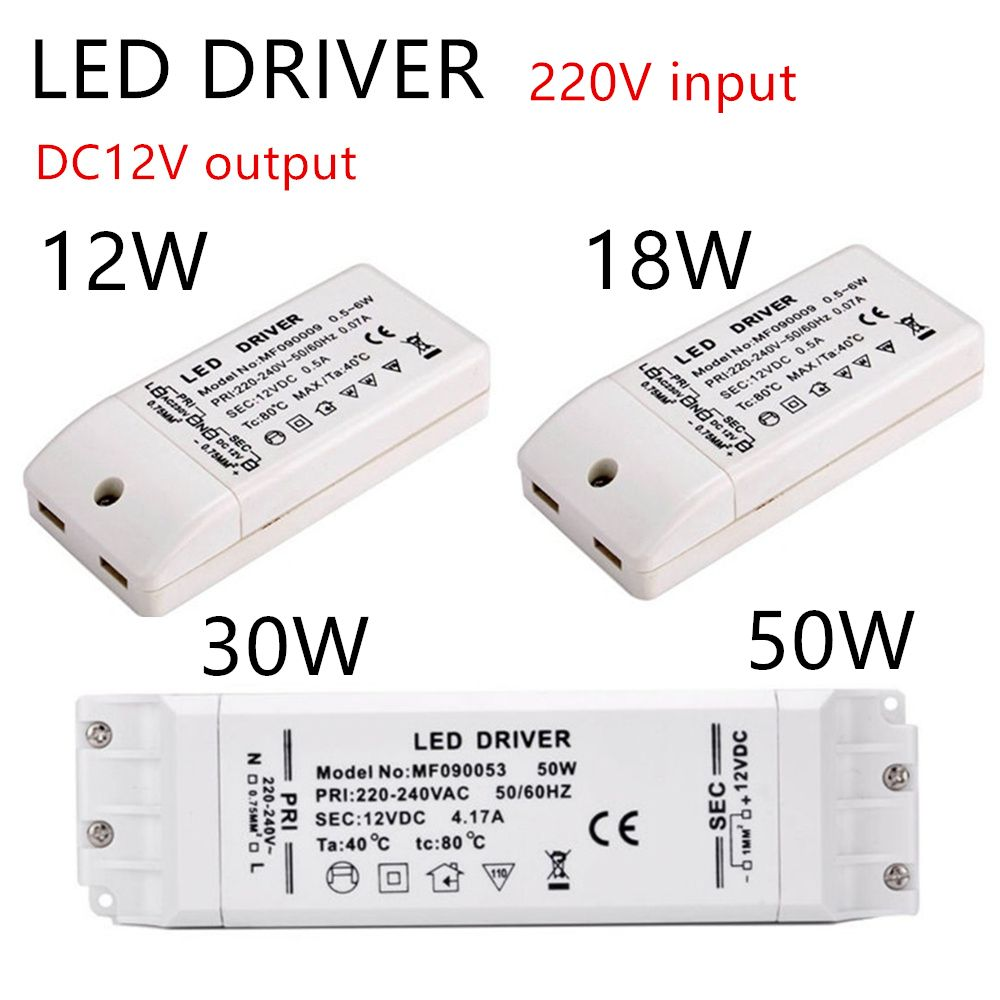 Led Driver Led Transformer Adapter 12vdc Output 6w 12w 18w 30w 50w Plastic Cover 220v To 12v For Led Strip Mr11 Mr16 12 Led Drivers Led Strip Light Accessories