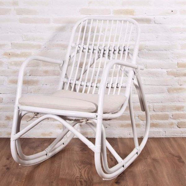 Serena rattan rocking chair white painted. with cushion