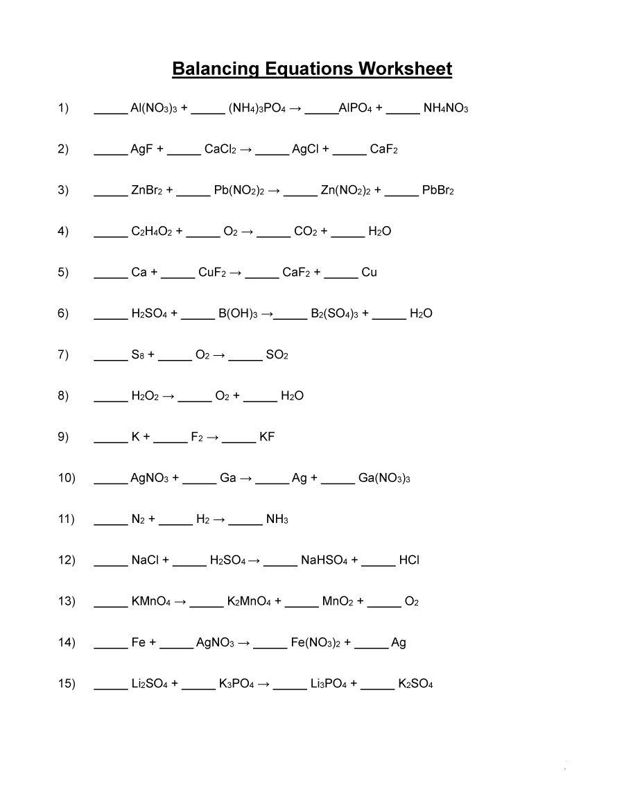 Balancing Equation Worksheets How to Balance Equations