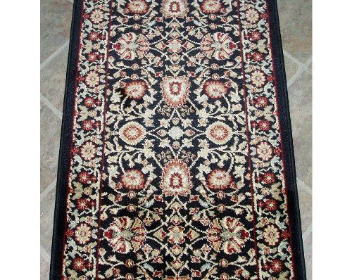 101144 Rug Depot Traditional Oriental Stair Runner Remnant 26 X 26 Black Background Dynamic Yazd 2803 090 Hall R Hall Runner Area Rugs Area Rug Pad