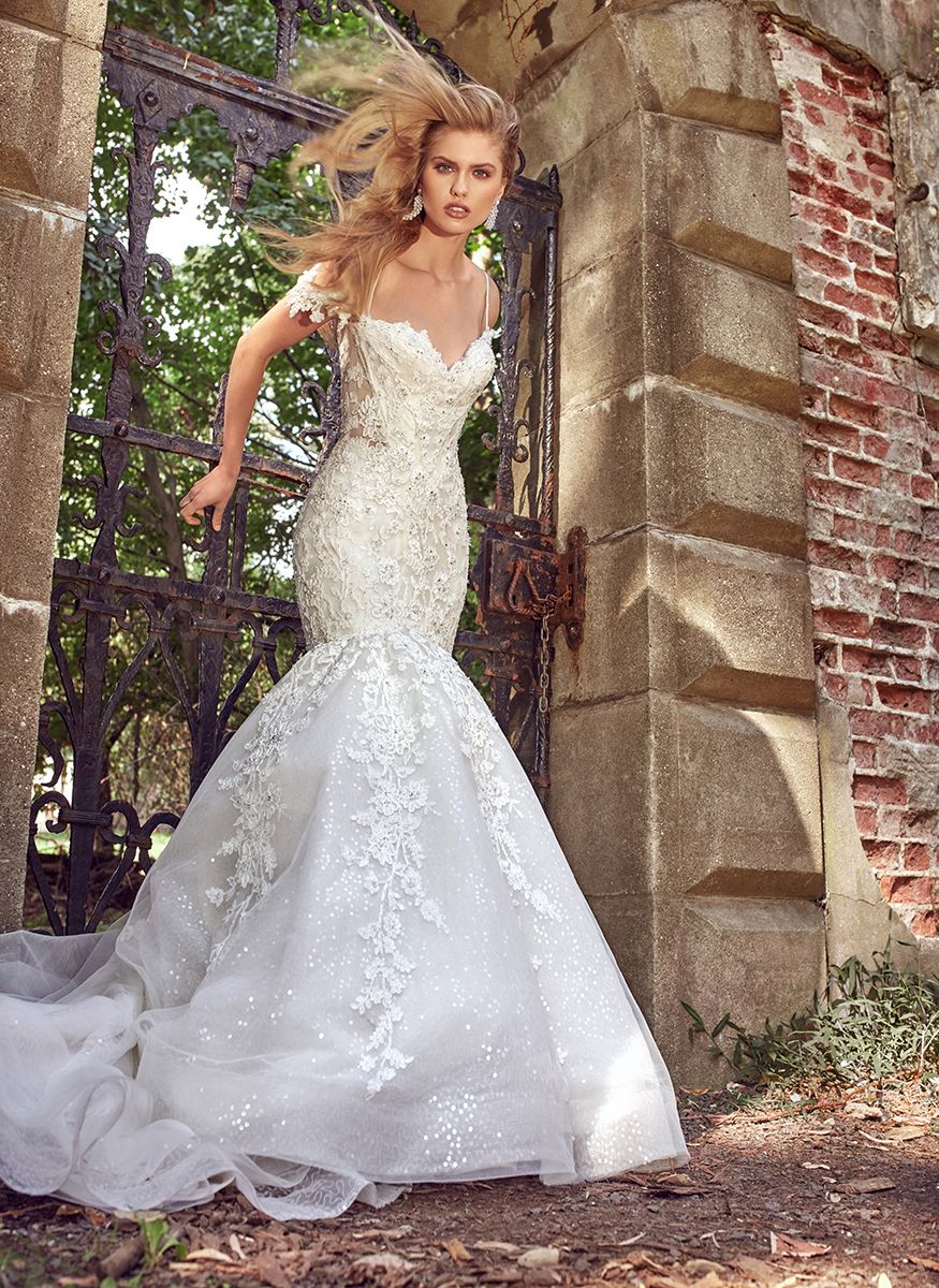 314464d19ab Off the shoulder beaded lace sweetheart neckline with three dimensional  bodice beading.
