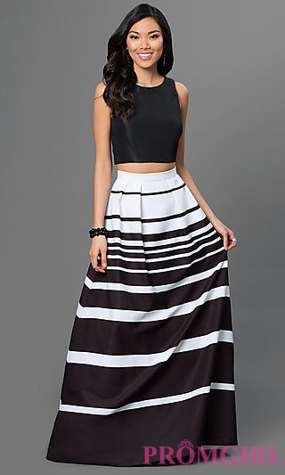 Black And White Two Piece Prom Dress By Xscape At Promgirl