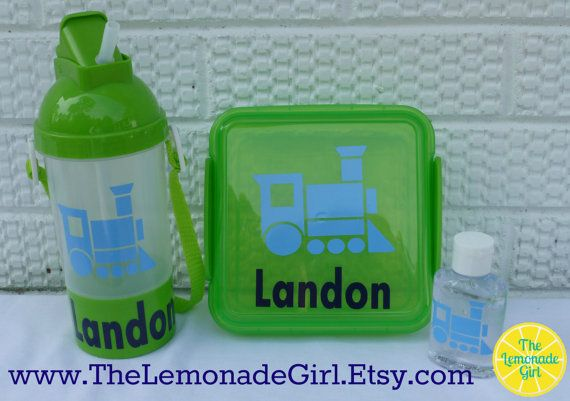 Personalized Train Lunch Set Summer Camp Beach Sippy By