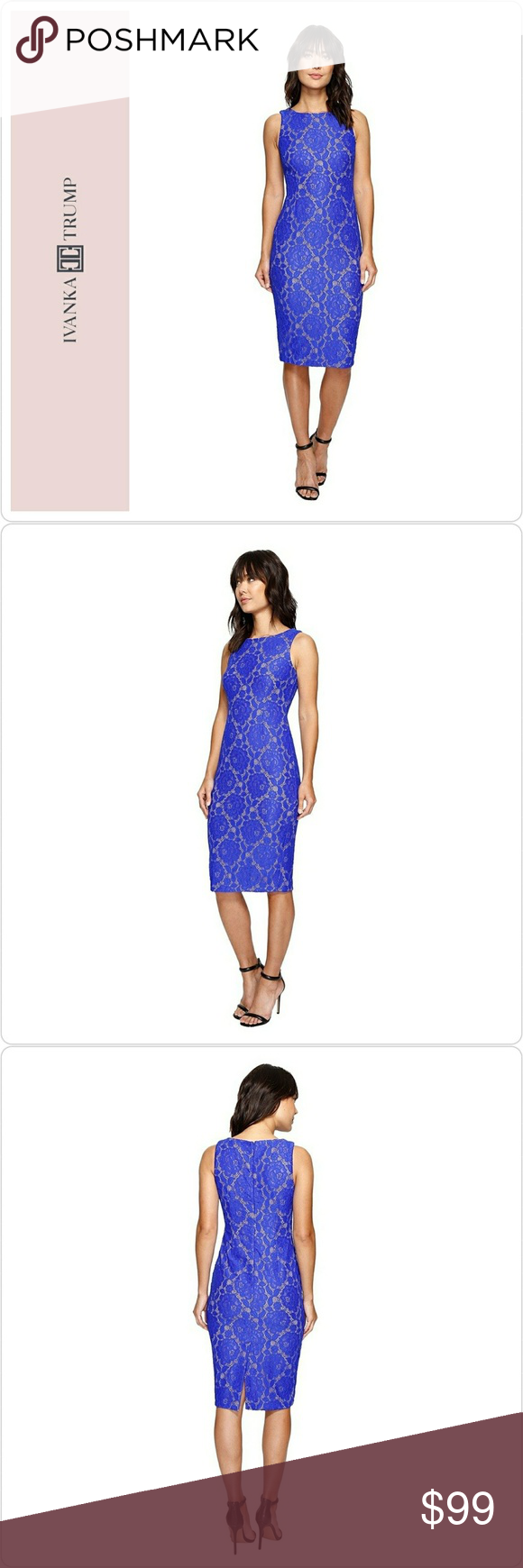 Lace below knee dress  Ivanka Trump Deep Sea Blue Lace Sheath Dress Brand Ivanka Trump