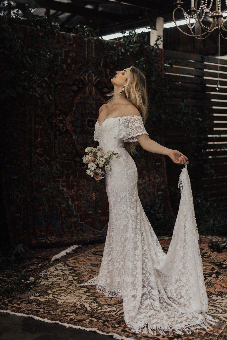 Callista Bohemian Wedding Dress Off Shoulder Lace Boho Etsy Off Shoulder Wedding Dress Boho Wedding Gown Wedding Dresses