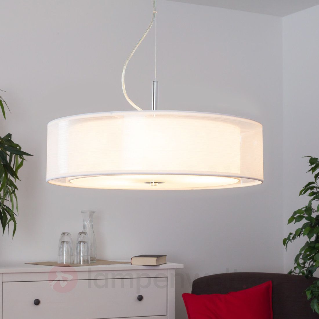 Textilpendelleuchte Pikka mit E27-LED-Lampen sicher & bequem online ...