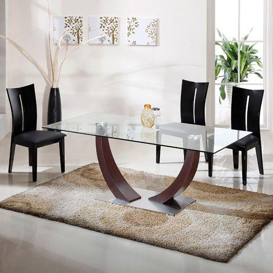 Table à manger plateau verre pied bois AMAZONE SALLE A MANGER