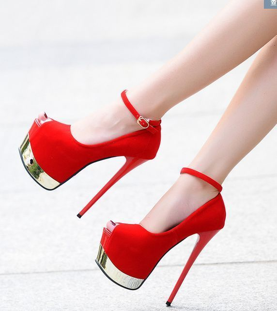 17Cm Womens Stilettos Open Toe Ankle Straps Super High Heel Platform Shoes  Club