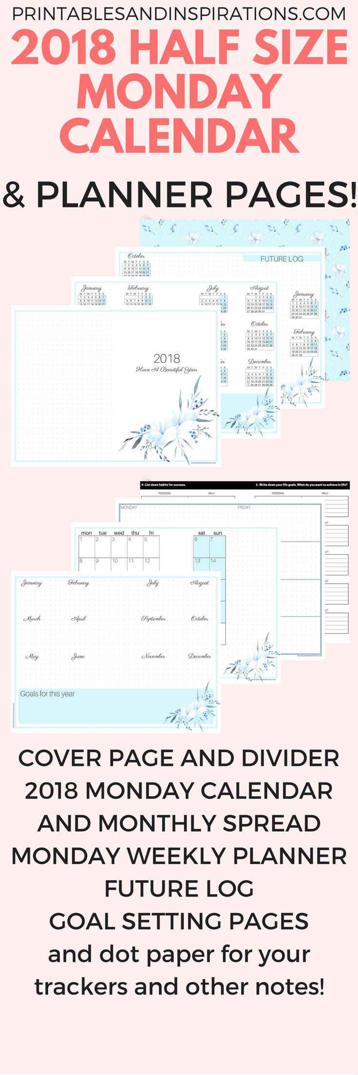 Free Printable Half Size Monday Calendar And 2018 Planner
