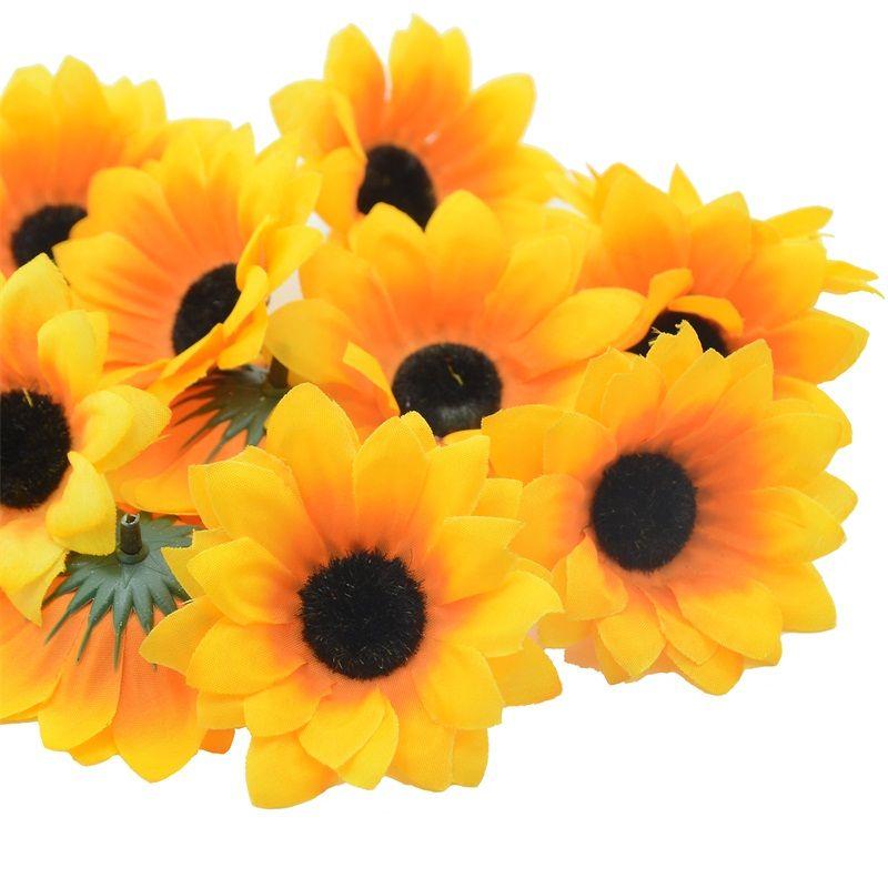 100pcs 7cm Wholesale Lagre Silk Sunflower Artificial Flower Head For Weddingdecoration Scrapbooking Accessories Fake Flowers Get Artificial Flowers Fake Flowers Cheap Artificial Flowers