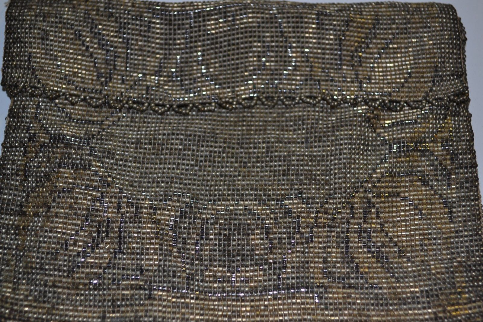 2 Vintage Art Deco Micro Beaded Flapper Bags Purses with Silk Lining: One Gold Beaded Clutch Wallet