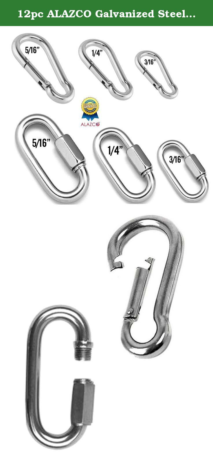 12pc Alazco Galvanized Steel Spring Snap Hooks Quick Link Set Assorted Length Gate Clearances 12pc Set Quickdraws Galvanized Steel Outdoor Recreation