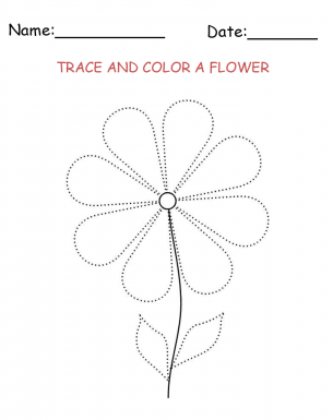 Tracing and Coloring Flower Printable Activities. Your
