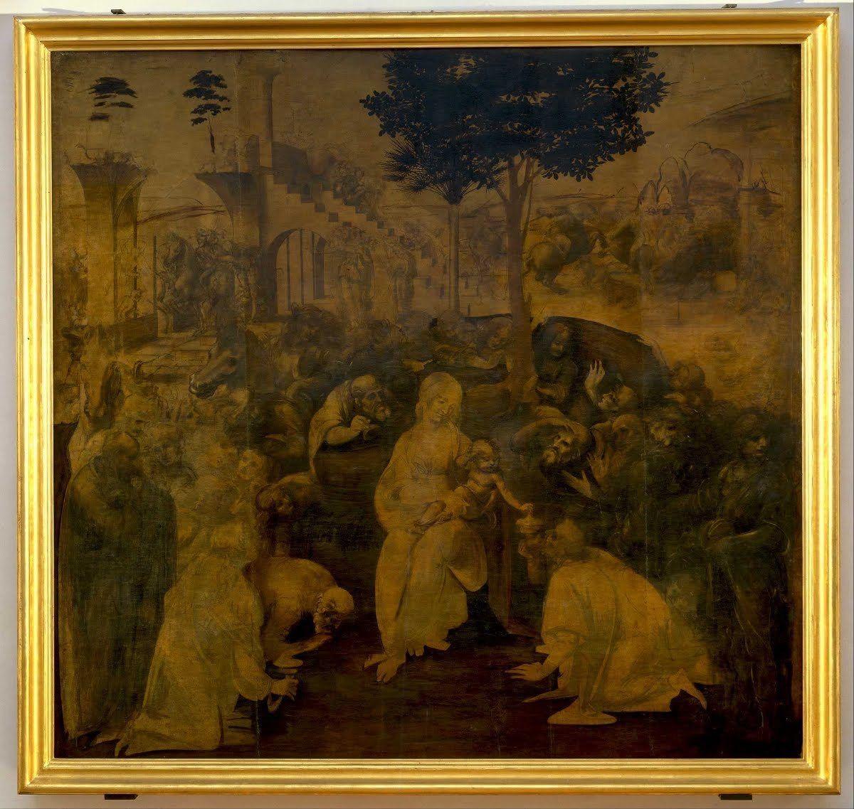 Renacentista Adoración De Los Reyes Magos Del Maestro Italiano Leonardo Da Vinci Galleria Degli Uffici Obras De Arte Famosas Artistas Famosos Obras De Arte