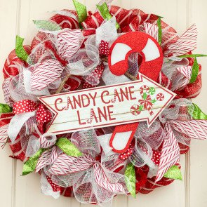 """16"""" Wooden Sign Candy Cane Lane Arrow [AP8244] in 2020"""