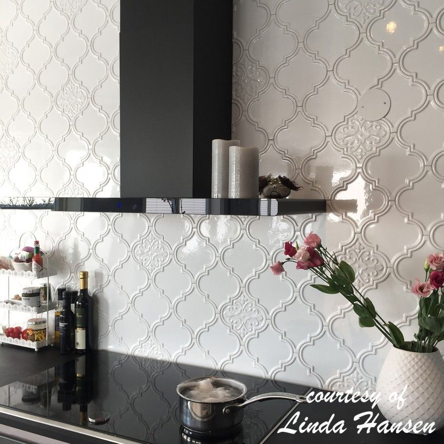- Byzantine Arabesque Bianco Ceramic Wall Tile Trendy Kitchen