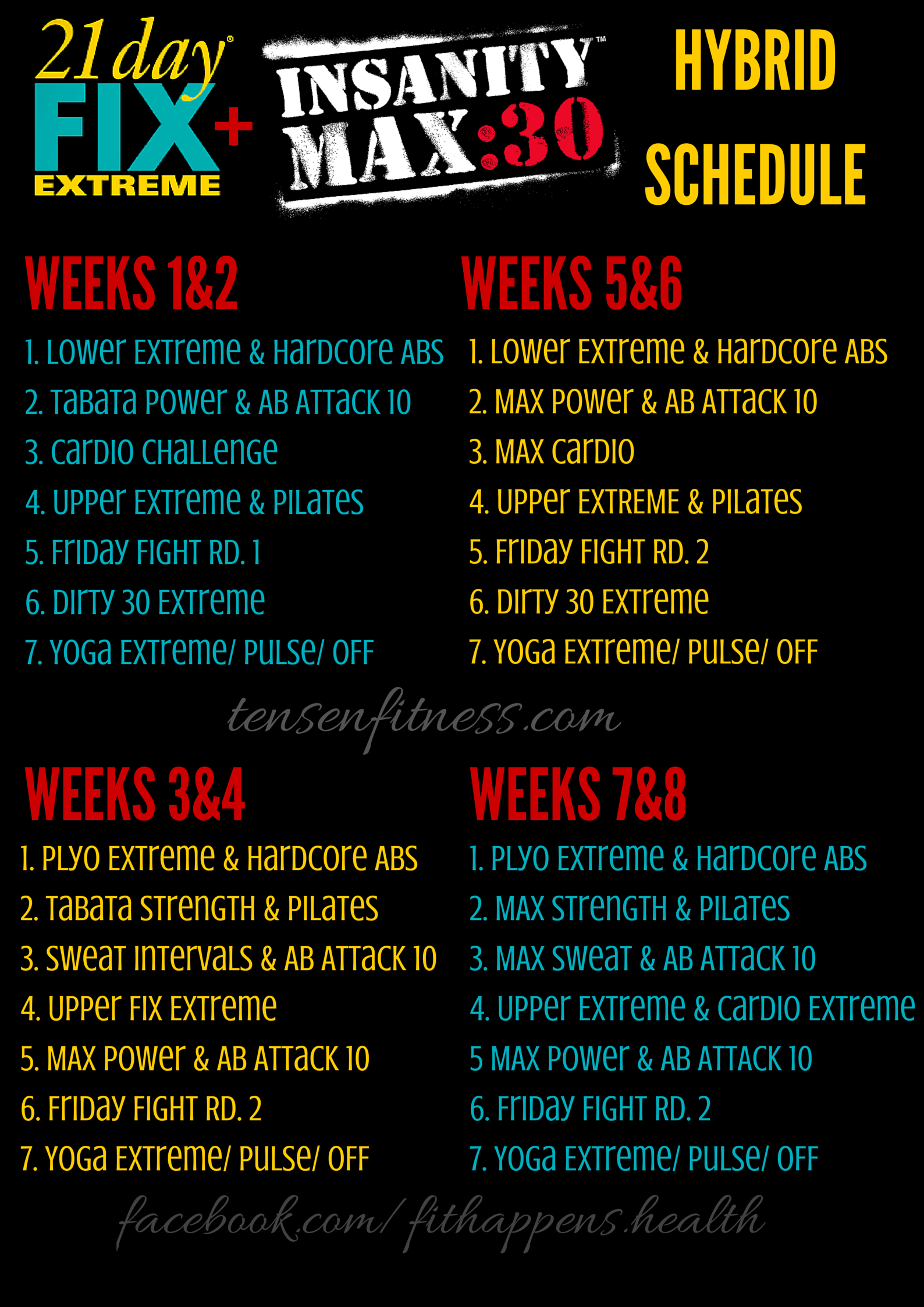 Insanity Max 30 Amp 21 Day Fix Extreme Hybrid Schedule