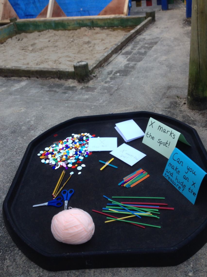Classroom Enhancement Ideas ~ Make an to mark the spot bury treasure and ask your