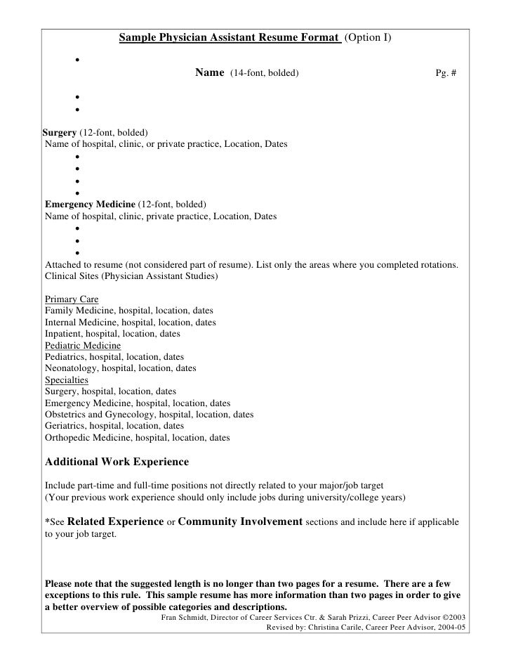 sample physician assistant resume format option free builder Home