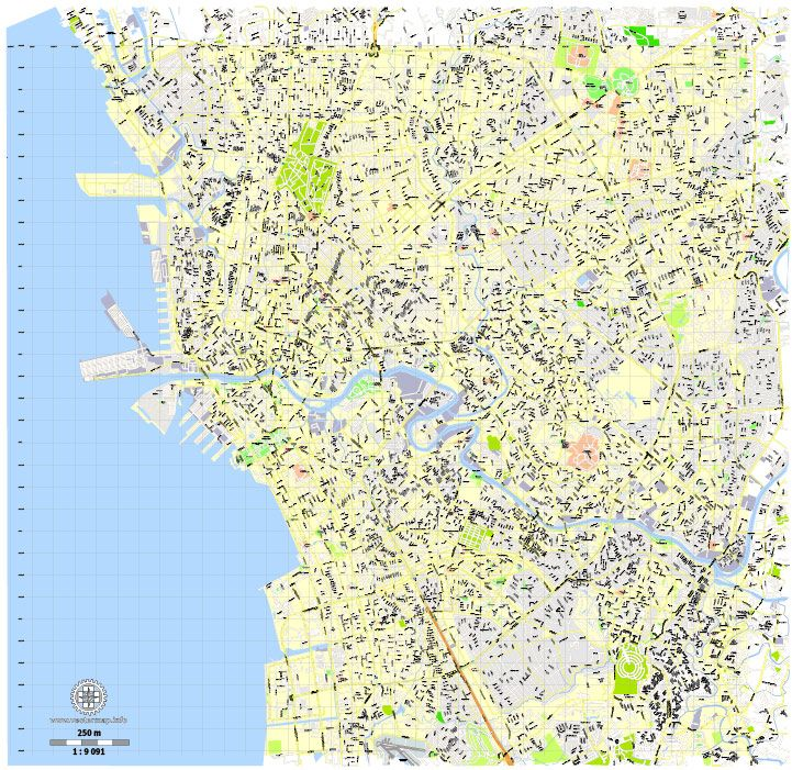 Manila Philippines exact vector street City Plan map G View Level