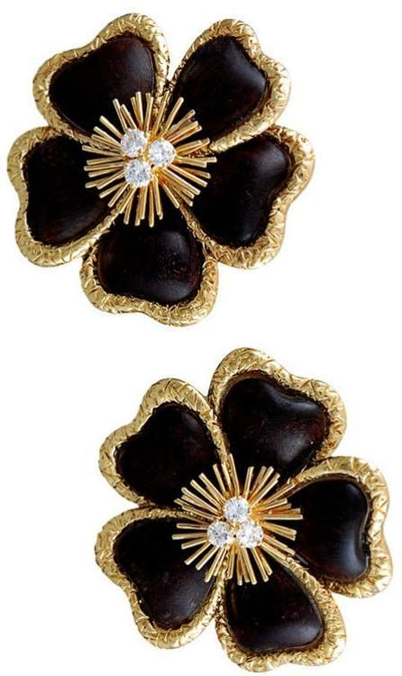 Van Cleef Amp Arpels Diamond Wood And Gold Flower