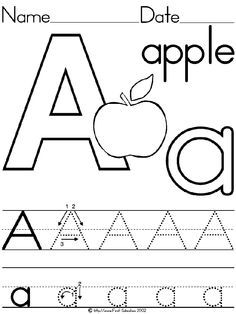 Alphabet Letter A Apple Standard Block Manuscript Handwriting Practice Worksheet - Preschool Printable