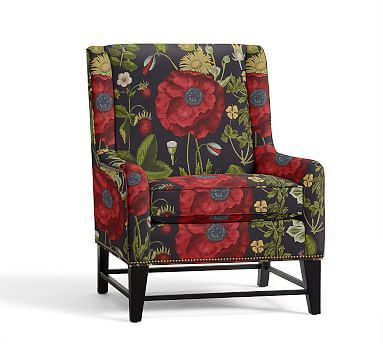 Berkeley Upholstered Armchair, Polyester Wrapped Cushions, Poppy Botanical Black