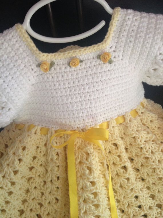Crochet Cotton Baby Dress, Booties, yellow and white 3-6 mo ...
