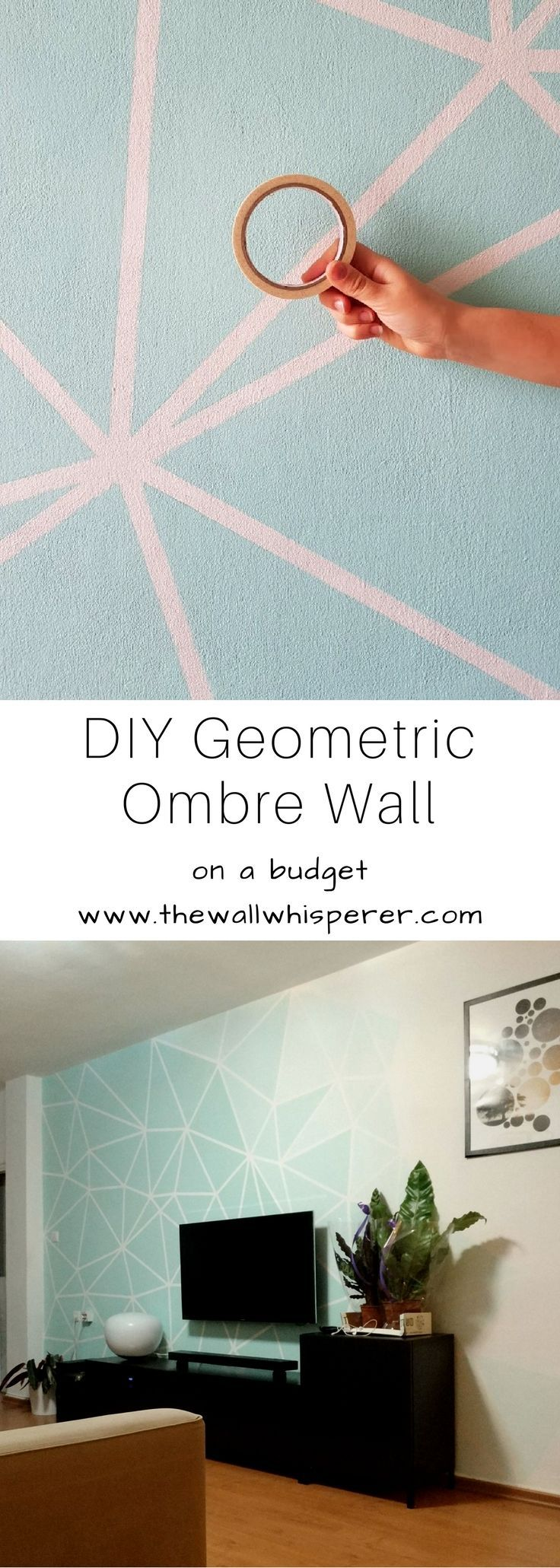 TV wall - DIY faux wallpaper home decor accent wall project - on a budget