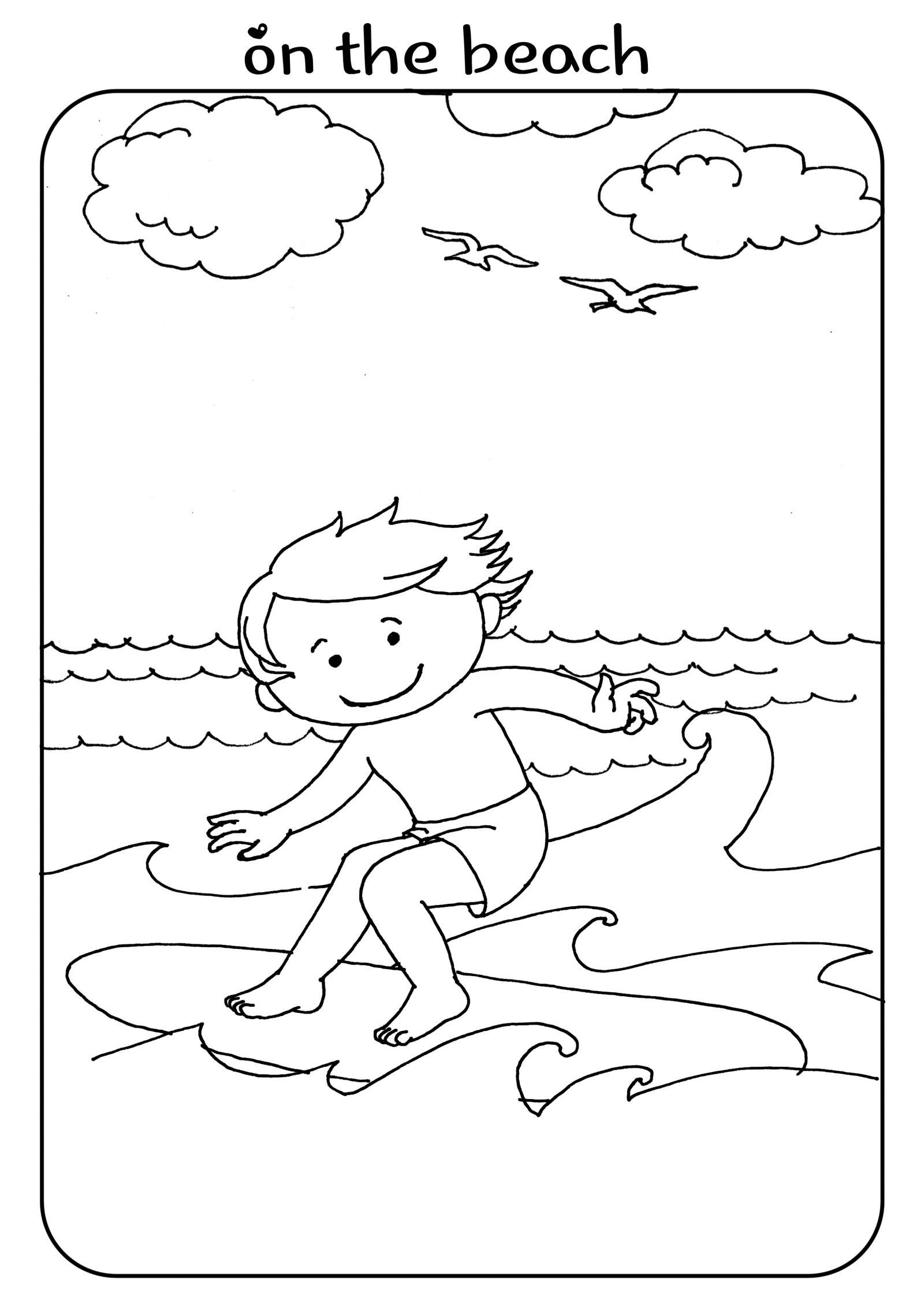 Beach Coloring Page Kids Activity Surfing Boy Trang Tri [ 2263 x 1600 Pixel ]