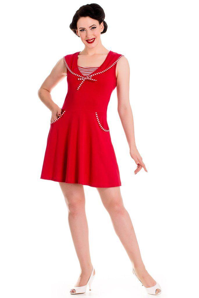 be41e48d6ca2a Hell Bunny 60 s Vintage Inspired Nautical Summer Hali Sailor Mini Dress