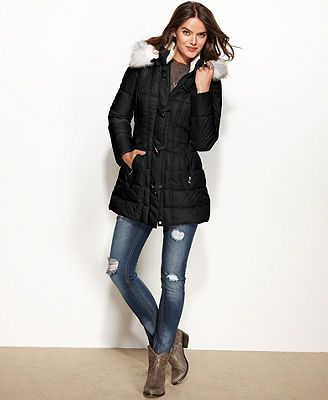 Laundry By Design Coat Faux Fur Trim Hooded Toggle Puffer Coat Coats For Women Puffer Coat