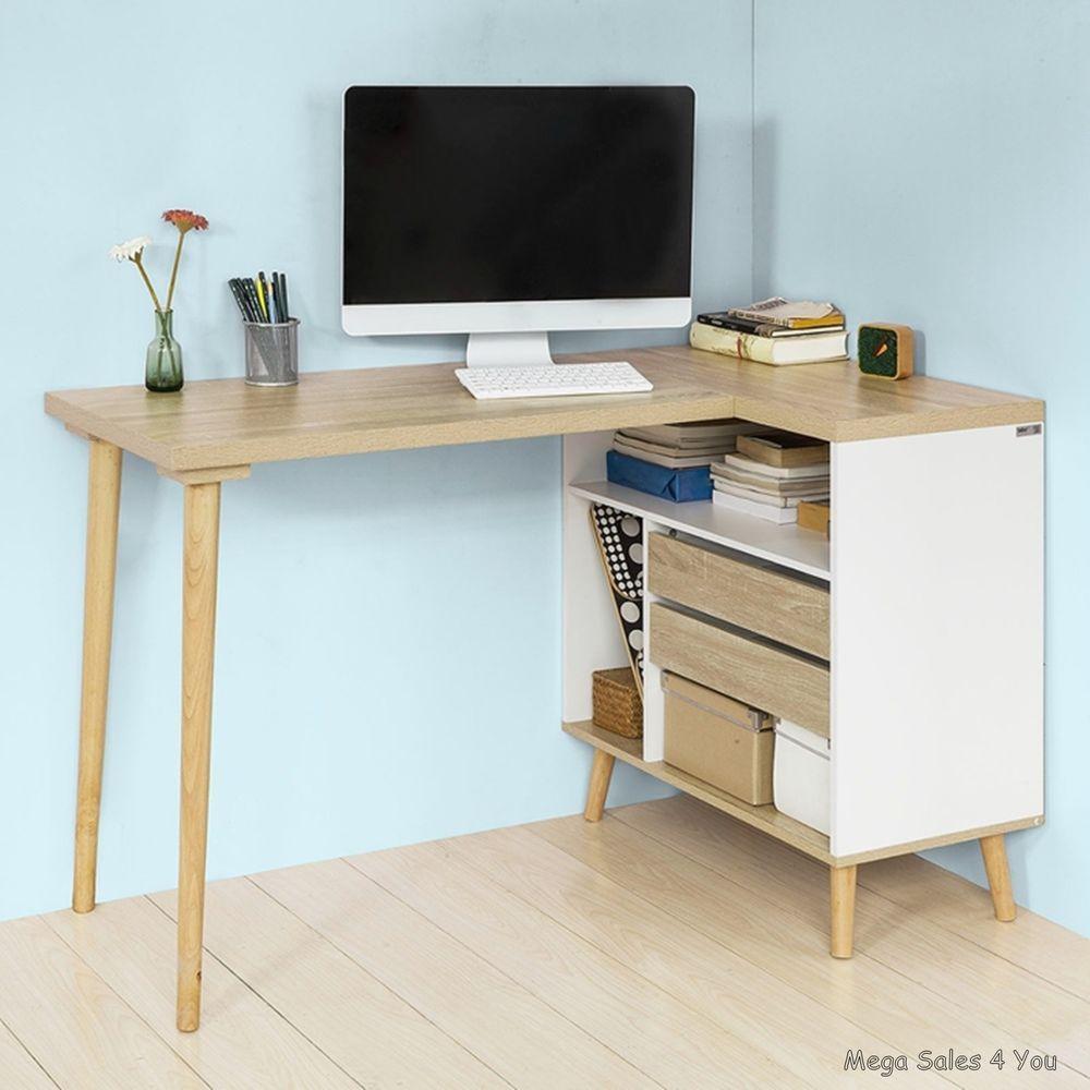 Large Retro Computer Desk Storage Cabinet Corner Pc Workstation