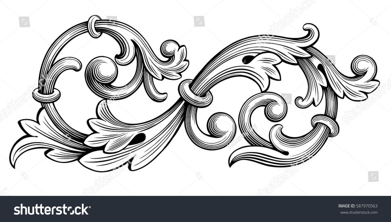 Vintage Baroque Victorian Frame Border Monogram Floral Ornament Leaf Scroll Engraved Retro Flower Vintage Flower Tattoo Victorian Tattoo Flower Tattoo Designs