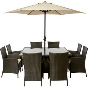 Garden Furniture 8 panama 8 seater square rattan effect garden furniture set | house