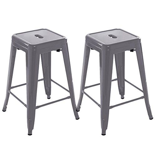 Marvelous Costway Set Of 2 Metal Steel Bar Stools Vintage Antique Gmtry Best Dining Table And Chair Ideas Images Gmtryco