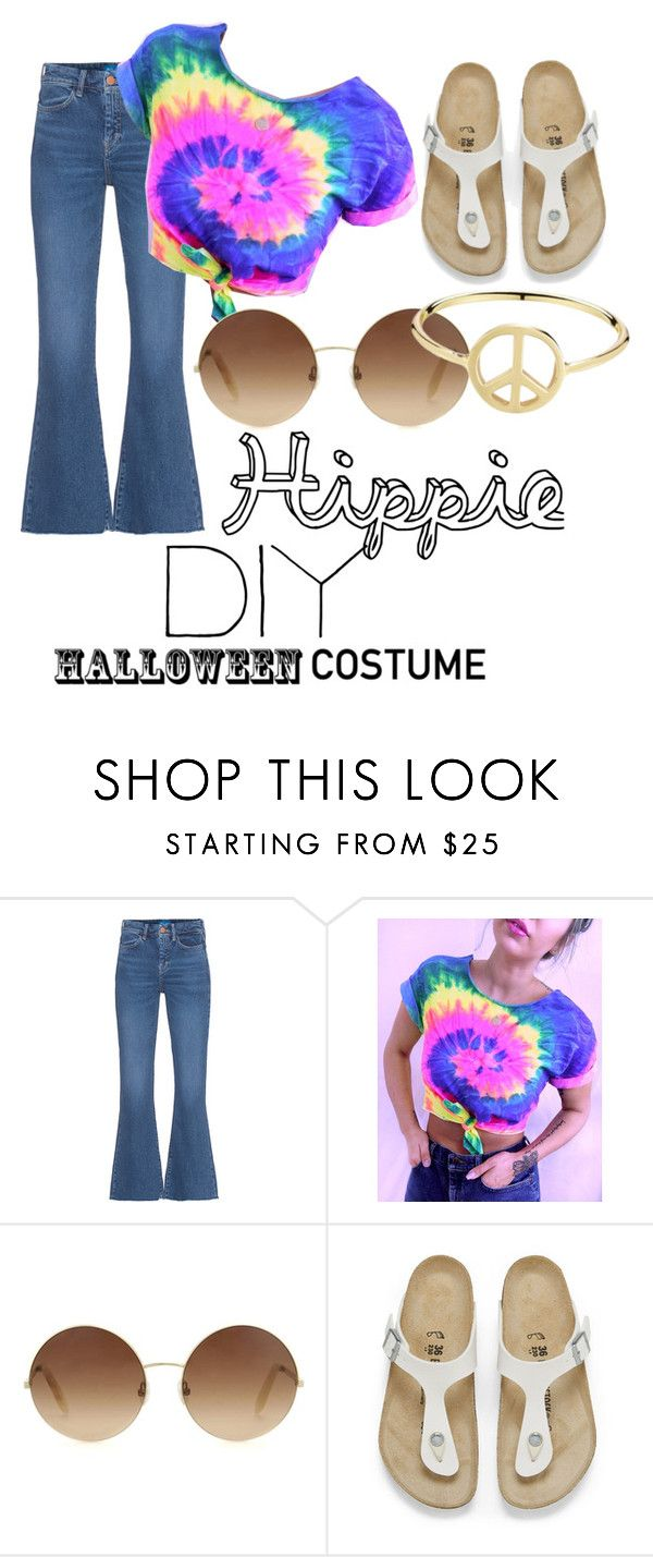 """""""Hippie"""" by charlotte-elizabeth-02 ❤ liked on Polyvore featuring M.i.h Jeans, Victoria Beckham, Birkenstock, Minor Obsessions, halloweencostume and DIYHalloween"""